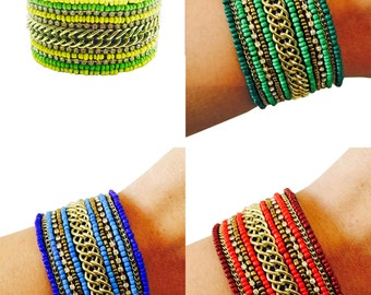 Fitbit Bracelet for Fitbit Flex and Flex 2 Fitness Activity Trackers - The PEETREE Red, Green, Blue, Yellow Beaded Cuff Bracelet -SHIPS FREE