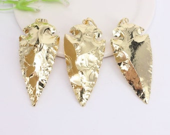 5pcs Full Gold Plated Arrow Shape Pendant,Nature Druzy Gemstone Arrow Pendant For Jewelry Making