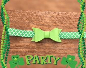 Quatrefoil/green/leather bow/Shamrock Saint Patricks Day/Girls/Headband