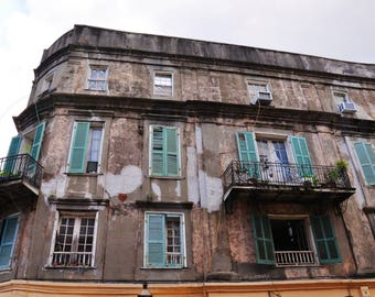 Urban Old Building with Green Shutters photography, New Orleans Architecture photo, Old Building picture
