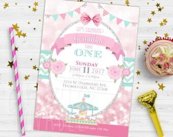 DIGITAL INVITATION, Carousel Birthday Invitation, Carousel Party Invitation, Pink and Mint Carousel Invitation, Carousel Printable