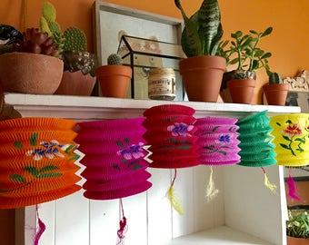 Vintage paper lanterns, assorted colors, party decorations