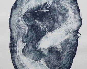 Koi Japanese woodblock print, Large woodcut, water, ripples, nature, printmaking, fish, wood wall art, Japanese print, wood wall art