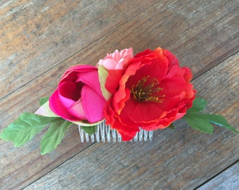 Hot Pink and Coral Peony Floral Comb