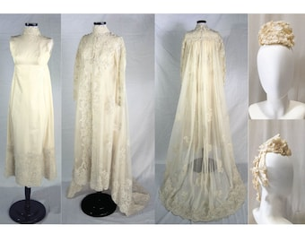 1960s Pricilla of Boston Wedding Gown // Silk Taffeta W/ Ornate Hand Beaded Pearl Lace, Tulle Lace Long Train Overcoat & Matching Hat XS/S