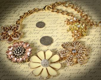 Fantastic Unique Chunky Vintage Collar Necklace with 5 Huge Crystal Flowers, Goldtone, Adjustable Length