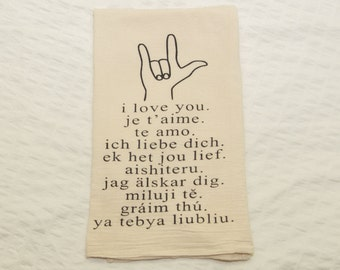 Natural Eco-Friendly Flour Sack Towel w I Love You in ASL