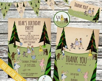 Personalised Teddy Bear's Picnic Party Invitation set, Woodland birthday invites, decorations, Into the woods, Garden party, digital files