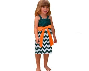 Green + Orange Chevron Game Day Dress- Girls
