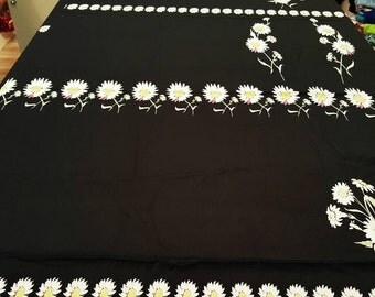 Daisy black brushed twill fabric by pattern repeat 1.3 yard