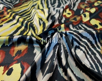Brown animal print stretch satin fabric #4925