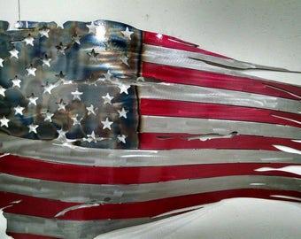 American Flag Rustic Wall Hanging. Metal Worn Old Glory