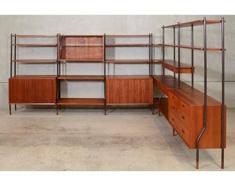 Six Section Teak Wall Unit / Room Divider by Lyby Mobler (B89P29)