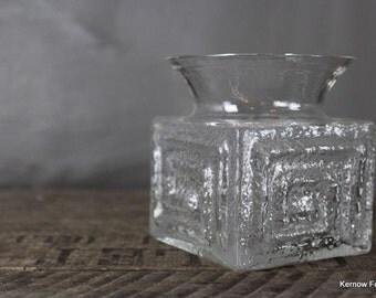 Retro Frank Thrower Dartington Clear Glass Vase