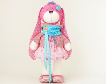 Plush bunny, fabric doll, unique gift for girl. In stock in the USA