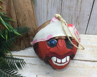 Vintage Coconut Head Bank, Pirate Party, Pirate Theme, Retro Carved Coconut, TIKI bar, Pirate Bar, pool party, summer bar, Party Decoration