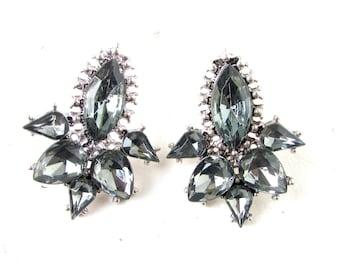 Charcoal Dark Grey Silver Stud Earrings Great Gatsby 1920s Diamante Flapper 985