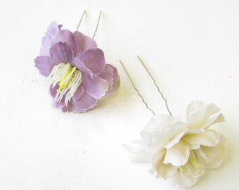2x Lilac Purple Ivory Wildflower Flower Hair Pins Bridesmaid Clip Vintage 1326