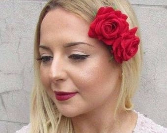 2x Red Rose Flower Hair Clips Fascinator Bridesmaid 1950s Rockabilly Slide 2707