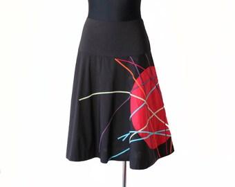 Vintage Black Cotton Flared Skirt with Applique Size 40
