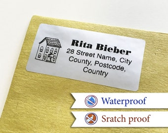100 Custom Return Address Labels Personalized Silver FoilAddress Stickers [B]