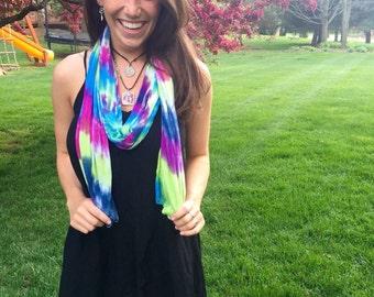 Tie Dye Scarf - Tie Dye Strapless Top - Michigan Made - Handmade - Festival Fashion