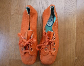 shoe orange vintage disco 70s