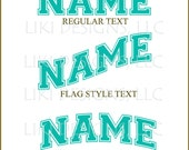 DIY Custom 7 in wide sport style name, iron on transfer and/or vinyl decals, ready to apply to your favorite jersey, t-shirt, project