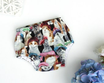 Cat Print Nappy / Diaper Cover, Ready To Ship, size 3-6 months