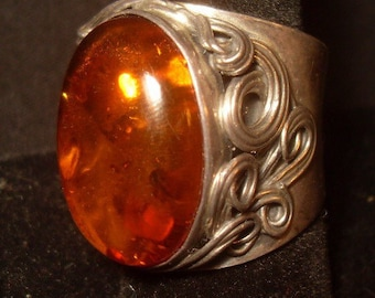 Large Antique Amber Silver Ring Hallmarked