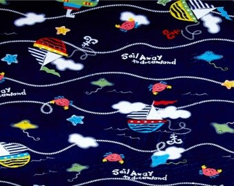 NEW Nautical Blanket Sailing Boat Sail Away Ocean Under the Sea Water All Sizes of Blankets Navy Blue