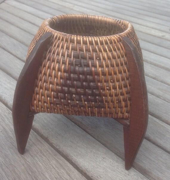 Handmade American Baskets : Native american basket handmade with legs vintage