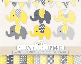 Cute Elephant Clipart. Baby Shower Clip Art, Digital Paper, Banners. Chevron, Heart, Dot, Stripe Patterns. Yellow, Grey Nursery Elephants.