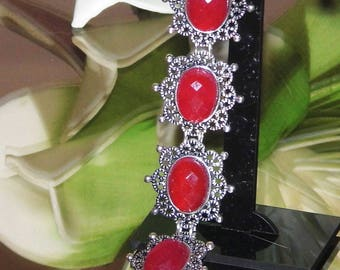 Bracelet Gemstone Ruby , red, wine red, berry, handmade, Cabochon, facetted, Art Nouveau, unique stone silver, filigree