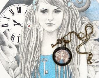 Pendant Locket Alice in the Wonderland