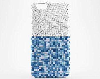 Blue Tile iPhone 8 Case White Tile iPhone X Case iPhone 7 Case iPhone 8 Plus iPhone 6 Plus Case Style iPhone 5 Case iPhone SE Galaxy S8 Plus