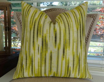 Lime Green Gray Cream Graphic Pillow Cover - Chartreuse Pillow Cover - Modern Graphic Pillow - Designer Couch Pillow - 11194