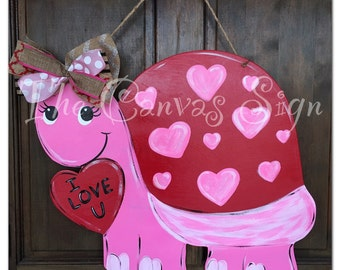 LOVE Valentine's Day Turtle wooden door hanger