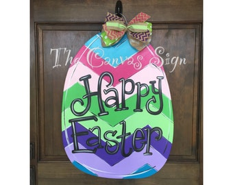 Wooden Chevron Easter Egg door hanger