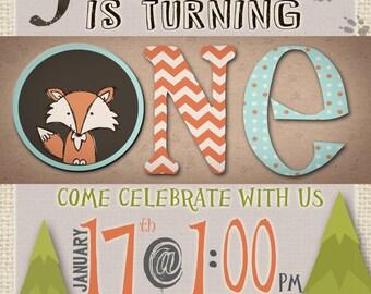 Woodland Theme 1st Birthday Invite