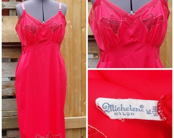 Vintage 1950's Lipstick Red MICHELENE Slip Dead Stock / Never Worn Size 38 Fitted Lace and Nylon Lingerie Slip / Negligee / Night Gown