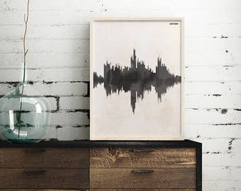 Saturn Soundwave Poster, print, science art wall decor, 5 x 7 in, 8.5 x 11 in, 12 x 16 in
