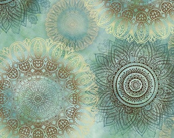 Arabesque Teal Floating Medallions from Quilting Treasures by the yard
