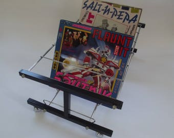 vintage metal record storage, vinyl album rack, 12 inch album storage