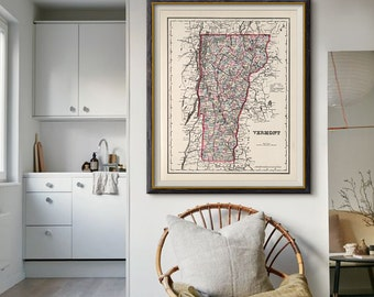 Vermont Map Print 1855, Vermont State Map, Vintage Map of Vermont, US State Map, Vintage Decor- CP069