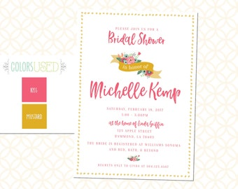 Printable Floral Bridal Shower Invitation, Bridal Brunch Invitation, Bridal Luncheon Invite with Flowers, Bridal Invite