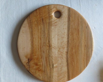 "Curly Maple 16"" Round Serving Cutting Board"