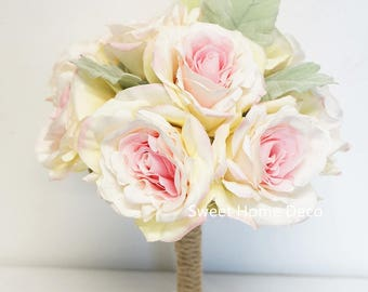 JennysFlowerShop Super Soft Silk Rose Wedding Bouquet  Bridal Bridesmaid Flower Girl Toss Bouquet Boutonniere Pink