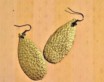 Teardrop Leather Earrings, Metallic Gold Leather earrings