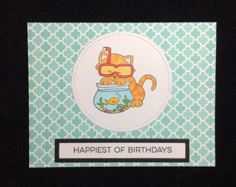 Cat & Fishbowl Birthday Greeting Card
